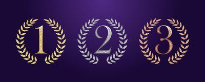 Awards collection one two three. Award numbers logotype set. Isolated elegant abstract nominee icons. First, second, third place cup symbol. Festival royalty free illustration