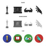 Award Oscar, movie screen, 3D glasses. Films and film set collection icons in black, flat, monochrome style vector. Symbol stock illustration Stock Photography