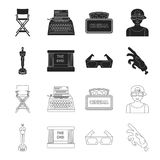 Award Oscar, movie screen, 3D glasses. Films and film set collection icons in black,outline style vector symbol stock. Illustration Stock Photos