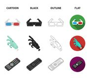 Award Oscar, movie screen, 3D glasses. Films and film set collection icons in cartoon,black,outline,flat style vector. Symbol stock illustration Royalty Free Stock Photos