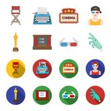 Award Oscar, movie screen, 3D glasses. Films and film set collection icons in cartoon,flat style vector symbol stock. Illustration Stock Photos