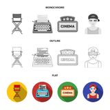 Award Oscar, movie screen, 3D glasses. Films and film set collection icons in flat,outline,monochrome style vector. Symbol stock illustration Stock Photos