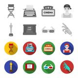 Award Oscar, movie screen, 3D glasses. Films and film set collection icons in monochrome,flat style vector symbol stock. Illustration Stock Image