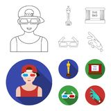 Award Oscar, movie screen, 3D glasses. Films and film set collection icons in outline,flat style vector symbol stock. Illustration Stock Image