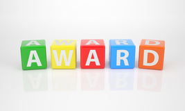 Award out of multicolored Letter Dices Royalty Free Stock Image