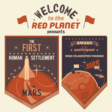 Award pennants for Mars colonization program. Award pennants for participants human settlement on Mars. Welcome to the Red Planet Stock Photos