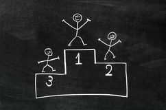 Award platform. And characters draw on blackboard with chalk stock photography