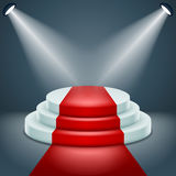 Award podium stage ceremony illuminated 3d realistic design vector illustration Stock Image