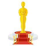 Award on podium. Statuette Award Festival Oscar on red carpet of honor. Movie Theater, Cinematic Award, Movie Premiere. Flat vector cartoon illustration. Objects Royalty Free Stock Image