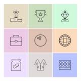 Award Position, Breifcase, Medicine,Trophy , diamond, bowling ba. Ll , globe, world , lab coat , medical , logo, design, vector, sign, label, symbol, icon royalty free illustration
