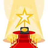 Award on red carpet. Film Award for the best film in the form of stars on luxurious catwalk with red carpet. Flat vector cartoon illustration. Objects isolated Royalty Free Stock Photography
