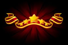Award red ribbon with golden stars for UI game resources. Objects on separate layers. Award red ribbon with golden stars for UI game resources. Vector Objects royalty free illustration