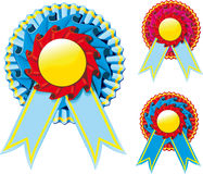 Award ribbon. Three colors of award ribbons with an empty space for your text Royalty Free Stock Photos