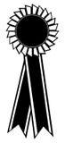 Award ribbon. Vector illustration of black color award ribbon on white background Royalty Free Stock Images