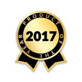 Award ribbon the best. Ribbon award best product of year 2017. Gold ribbon award icon isolated white background. Best product golden label for prize, badge Stock Photos