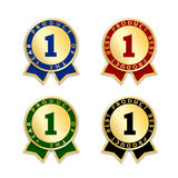 Award ribbon the best. Ribbons award best product set. Gold ribbon award icon with number one isolated on white background. Best product golden label for badge Stock Photo