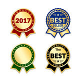Award ribbon the best seller. Ribbons award best seller set. Gold ribbon award icon isolated white background. Bestseller golden tag sale label, badge, medal Stock Photos