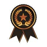 Award ribbon gold black medal with star laurel wreath rosette Stock Image