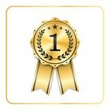 Award ribbon gold icon. Blank medal isolated on white background. Stamp rosette design trophy. Golden emblem. Symbol of. Winner, celebration, sport achievement Royalty Free Stock Photos