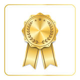 Award ribbon gold icon laurel wreath Royalty Free Stock Images