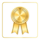 Award ribbon gold icon laurel wreath crown Royalty Free Stock Photography