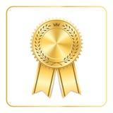 Award ribbon gold icon laurel wreath crown. Award ribbon gold icon. Blank medal with laurel wreath isolated white background. Stamp rosette design trophy. Golden vector illustration
