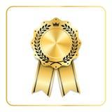 Award ribbon gold icon laurel wreath crown Stock Photos