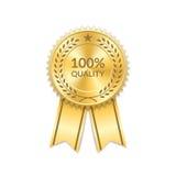 Award ribbon gold icon laurel wreath quality Stock Image