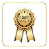 Award ribbon gold icon laurel wreath quality Stock Photo