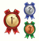 Award Ribbon. Gold, Silver and Bronze. First, Second and Third Place Royalty Free Stock Photos