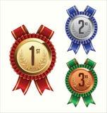 Award Ribbon. Gold, Silver and Bronze. Royalty Free Stock Photos