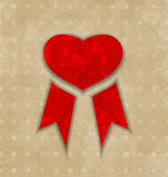 Award ribbon heart for Valentines day, vintage des Stock Images