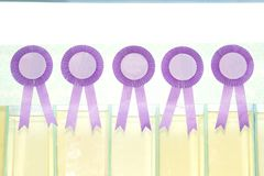 Award ribbon on white background. Award ribbon isolated on white background Stock Image