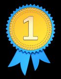 Award ribbon number one 1. 1st first place medal golden blue. Champion winner reward, achievement success icon. 3d illustration, isolated on black royalty free illustration
