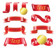 Award Ribbon - realistic vector set of red bands. Award Ribbon- realistic modern vector set of different red bands with copy space for your text. White Royalty Free Stock Image