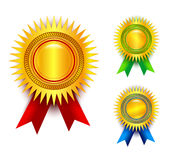 Award ribbon set. Set of three golden award medals with red, green and blue ribbons. Eps file available Royalty Free Stock Photos