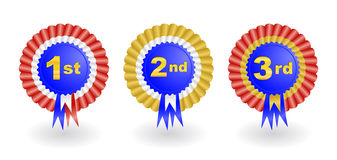 Award ribbon set. Illustration of 1st, 2nd and 3rd place award ribbons Stock Images