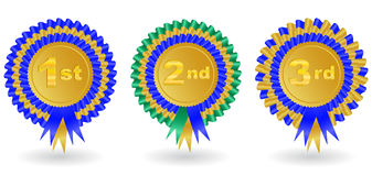 Award ribbon set. Illustration of 1st, 2nd and 3rd place award ribbons Royalty Free Stock Images