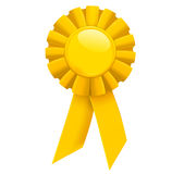 Award ribbon. Yellow ribbon first place award isolated on white background Stock Image