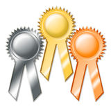 Award Ribbons. An illustration of three award ribbons, isolated on white background Royalty Free Stock Images