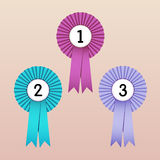 Award Ribbons. Vector Illustration of Award Ribbons (1st, 2nd and 3rd place Stock Image