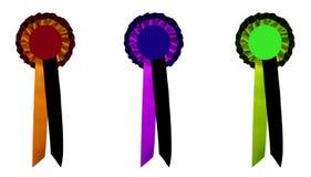 Award Ribbons. 3 different colored award ribbons Stock Photography