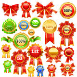 Award ribbons. A set of bright award ribbons in red, gold and green Royalty Free Stock Photography