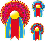 Award Ribbons. Three colors of award ribbons with an empty space for your text Stock Photos