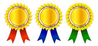 Award Ribbons. Award badge with different colored ribbons Royalty Free Stock Photos