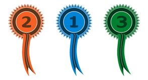 Award Ribbons. Showing 1st, 2nd and 3rd places Stock Images