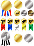 Award Ribbons. They can be edited in Illustrator or the JPEG can be added to your ads. Add ribbons or starbursts to your promotions Royalty Free Stock Images