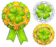 Award ribbons with clover Stock Photo