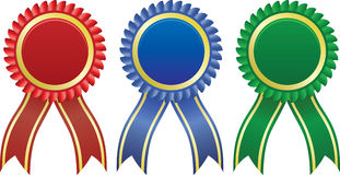 Award ribbons. In different colors Stock Photo