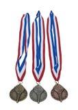 Award Ribbons of Gold Silver and Bronze Royalty Free Stock Photos